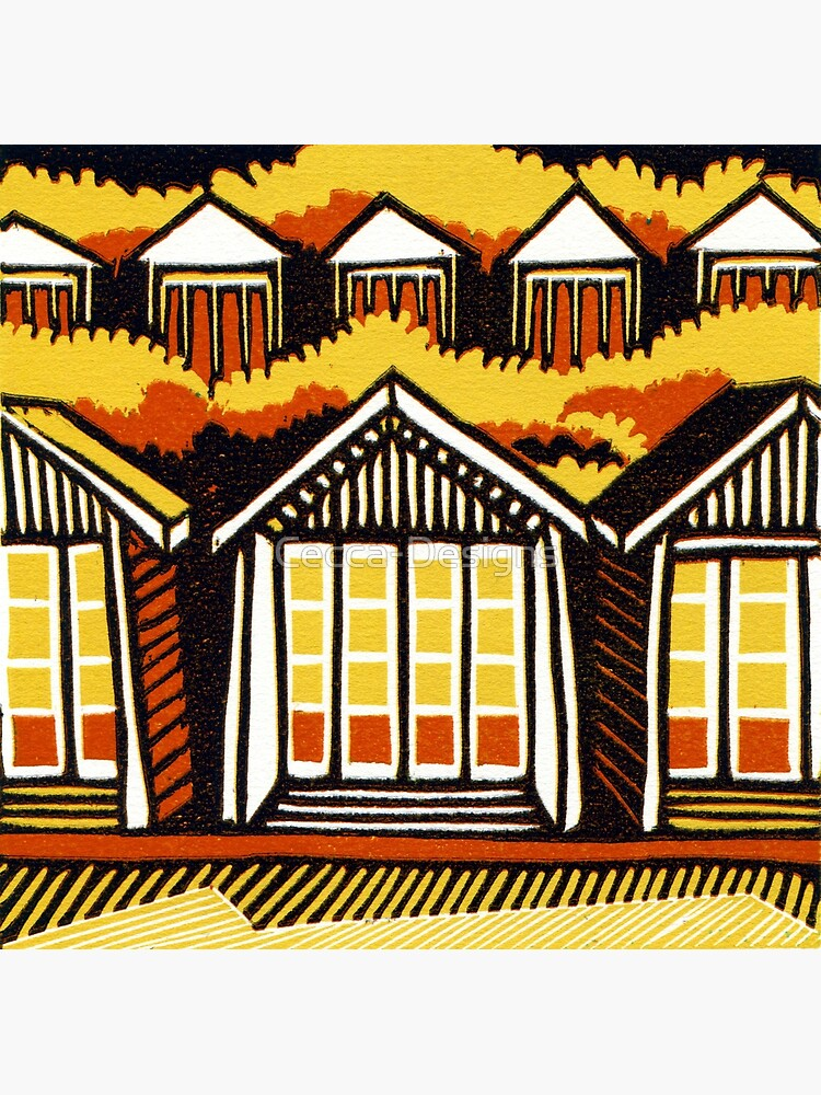 Beach Huts - Summer - Original Linocut by Francesca Whetnall by Cecca-Designs