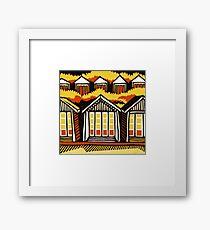 Beach Huts - Summer - Original Linocut by Francesca Whetnall Framed Print