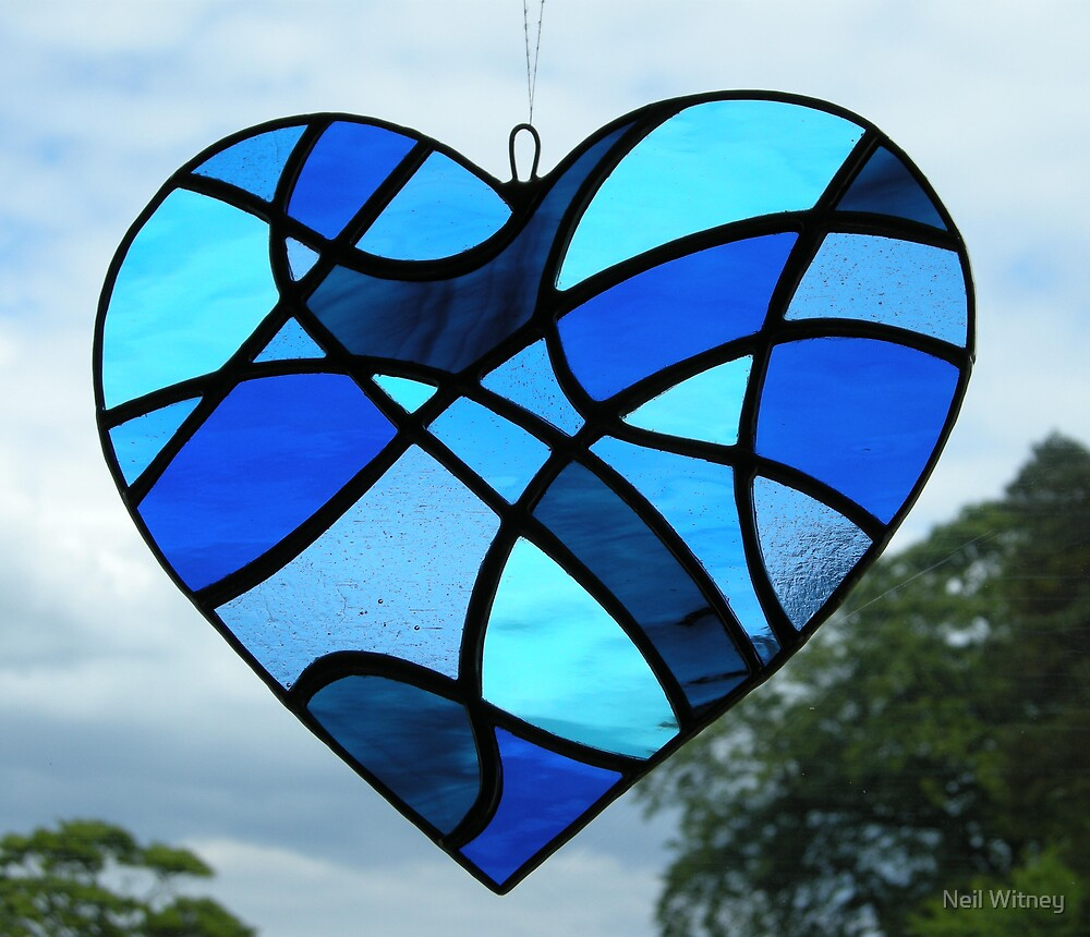 """Abstract Love Heart """"Blues"""" by Neil Witney"""
