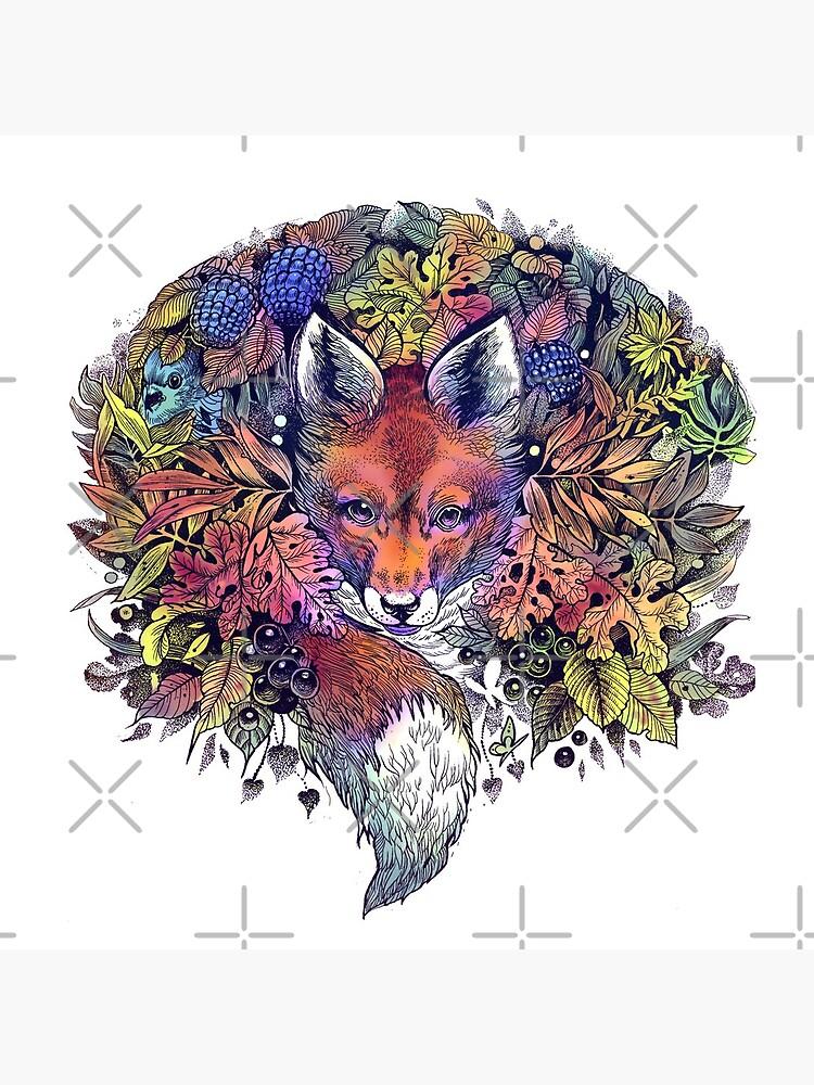 Rainbow Hiding Fox by saraknid