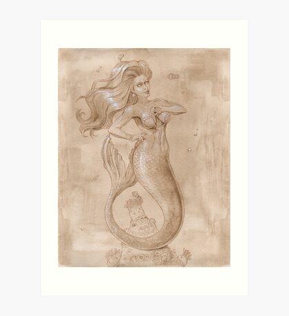 Mermaid and Clown Fishes  Art Print