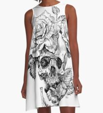 Skull And Roses A-Line Dress