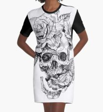 Skull And Roses Graphic T-Shirt Dress