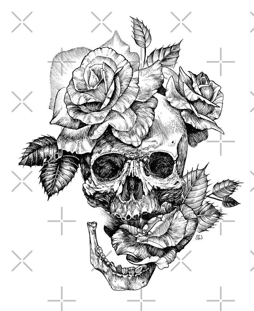 "Hand Drawings Roses And Skulls: ""Skull And Roses"" By Saraknid"