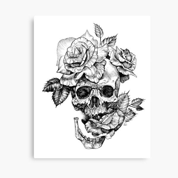 Schädel und Rosen Leinwanddruck