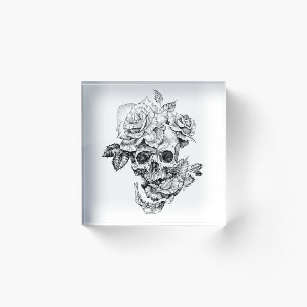 Skull And Roses Acrylic Block