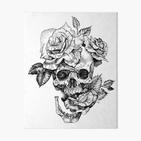 Skull And Roses Art Board Print