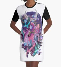 Mystic Midnight Pink White Tail Doe Graphic T-Shirt Dress