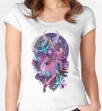 Mystic Midnight Pink White Tail Doe Women's Fitted Scoop T-Shirt