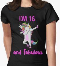 16 and fabulous sweet sixteen girls unicorn dab dance t shirt Womens Fitted T-Shirt