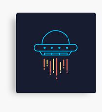 Cool Neon Blue UFO Spaceship  Canvas Print