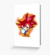 Goku Red God Chibi Greeting Card