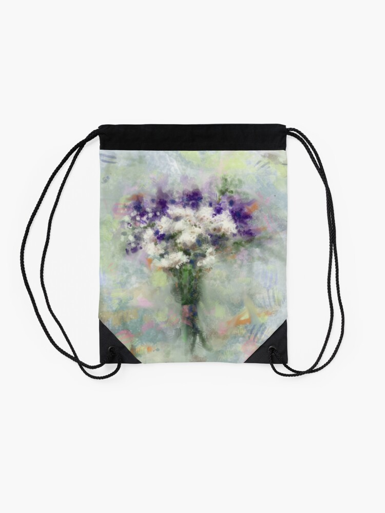 Alternate view of Abstract Floral Bouquet ~ Digital Illustration  Drawstring Bag