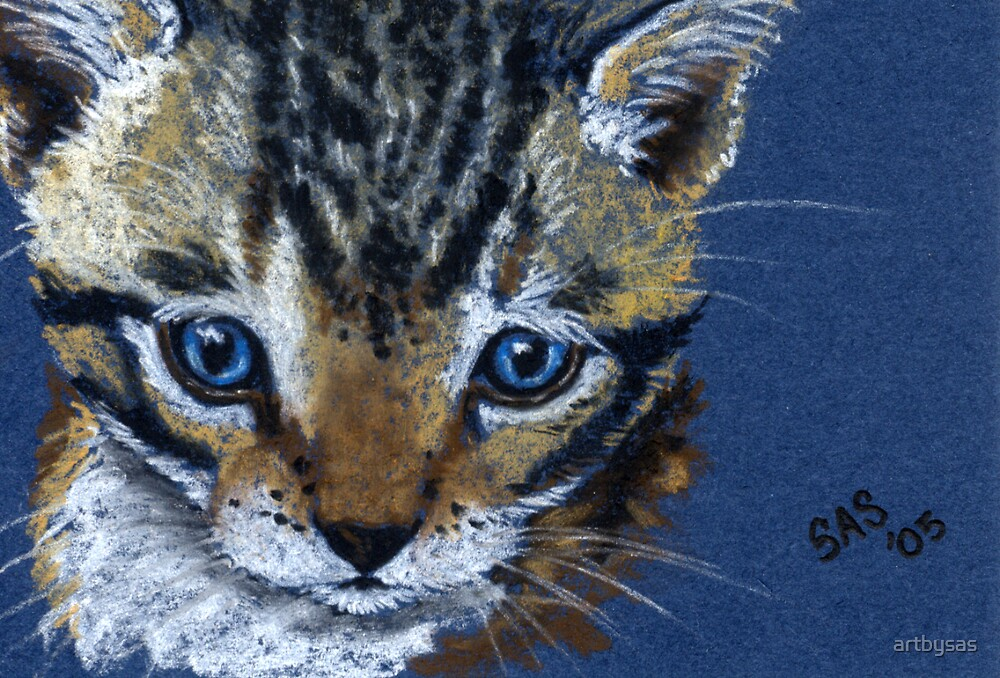 Brown Tabby on Blue by artbysas