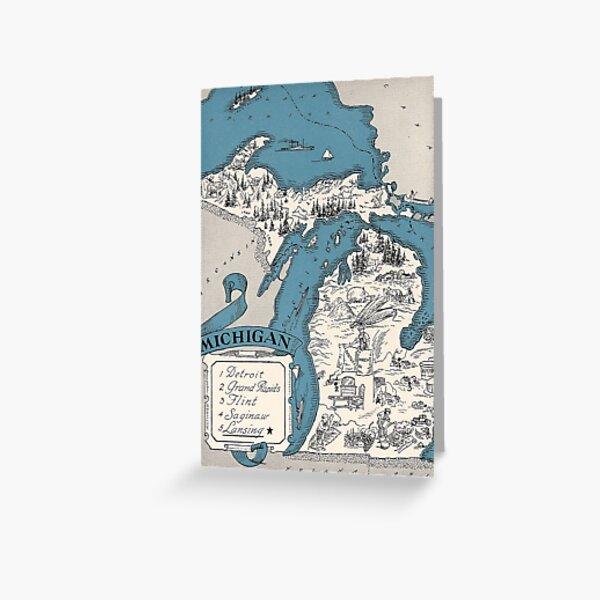 Vintage 1926 Michigan map postcard - Christmas greeting card Greeting Card