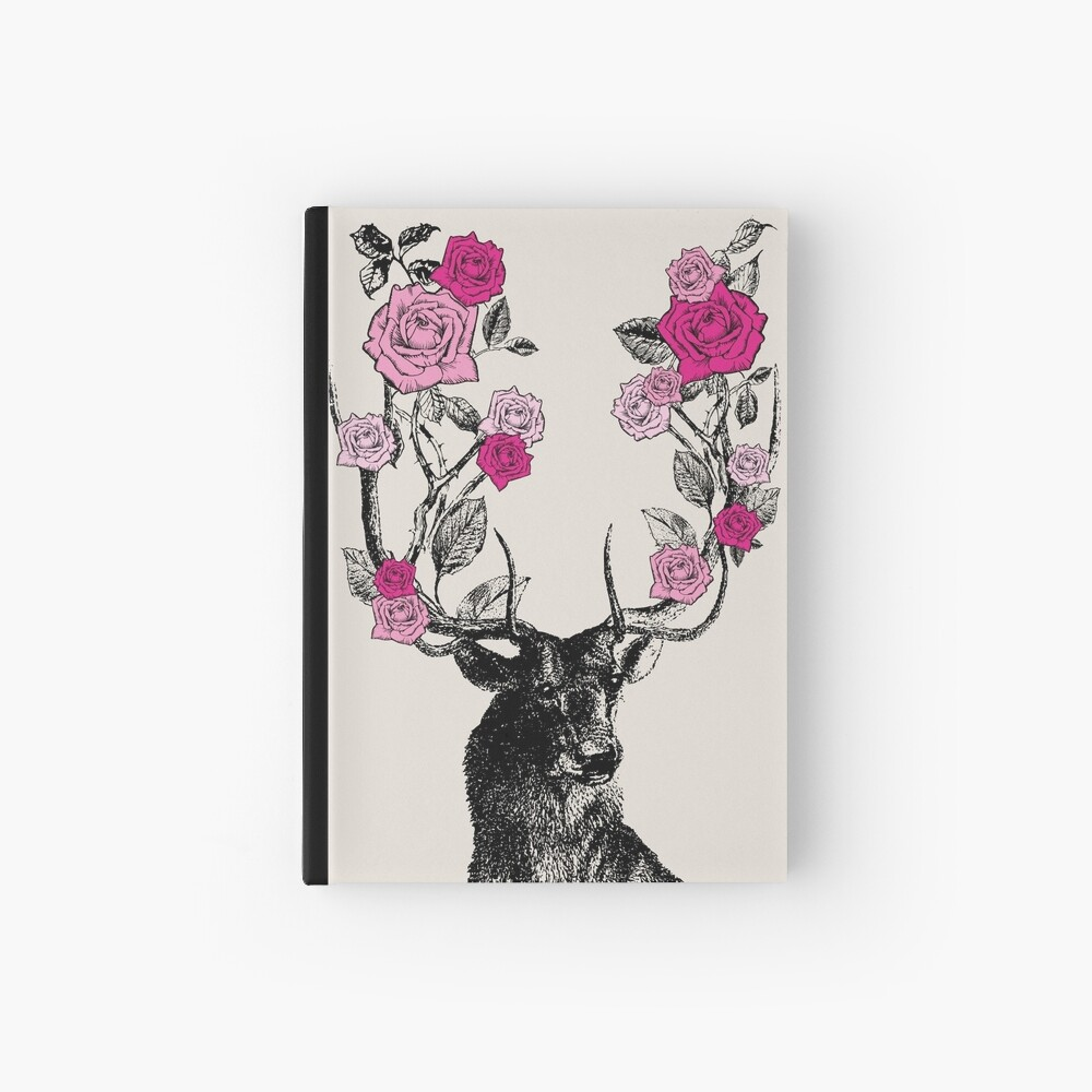 The Stag and Roses | Deer and Roses | Stag and Flowers | Deer and Flowers | Vintage Stag | Antlers | Woodland | Highland | Pink and Beige |  Hardcover Journal