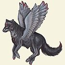 Winged Wolf Black and Red Jewels by Stephanie Small