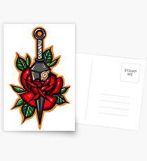 Naruto Konoha Kunai Through Rose Postcards