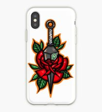 Naruto Green Konoha Kunai Through Rose iPhone Case