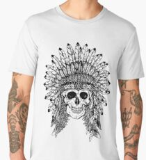 Tribal style gothic skull with feather crown Graphic collection Men's Premium T-Shirt