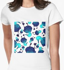 Blue Watercolor Duck Pattern Womens Fitted T-Shirt