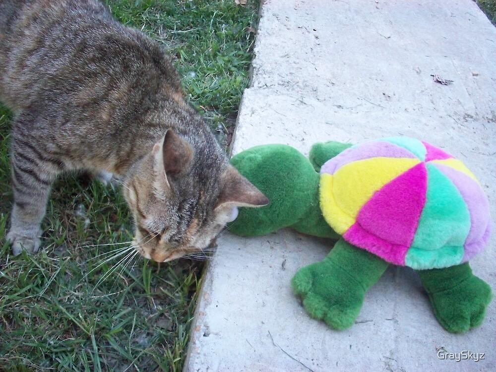 turtle and kitty love by GraySkyz