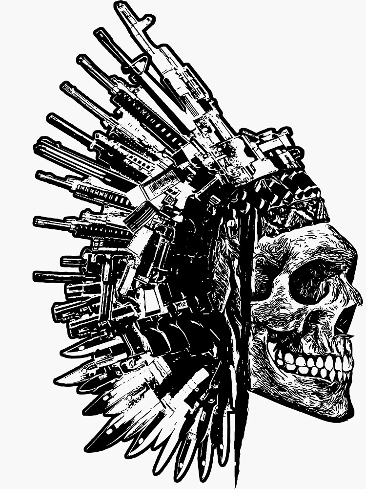 Tribal Skull, Guns and Knives Graphic T-shirt Collection by octanedesigns