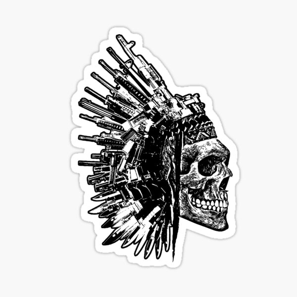 Tribal Skull, Guns and Knives Graphic T-shirt Collection Sticker