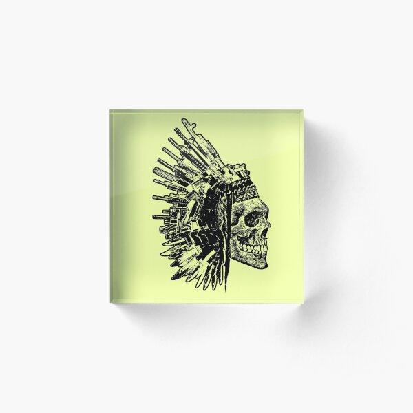 Tribal Skull, Guns and Knives Graphic T-shirt Collection Acrylic Block