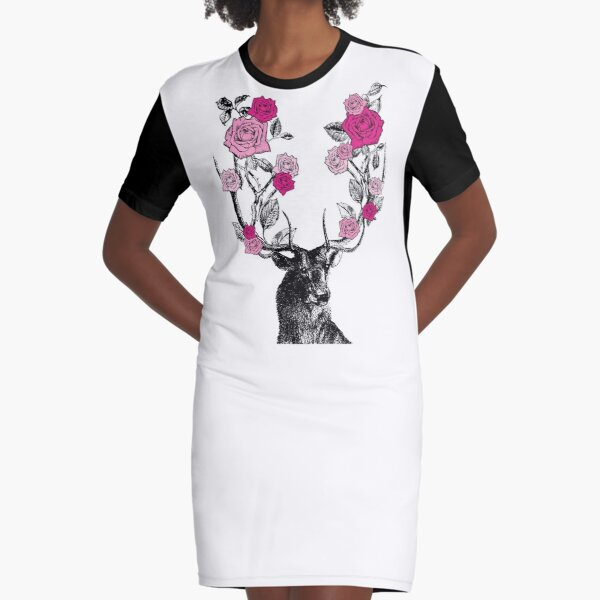 The Stag and Roses | Deer and Roses | Stag and Flowers | Deer and Flowers | Vintage Stag | Antlers | Woodland | Highland | Pink |  Graphic T-Shirt Dress