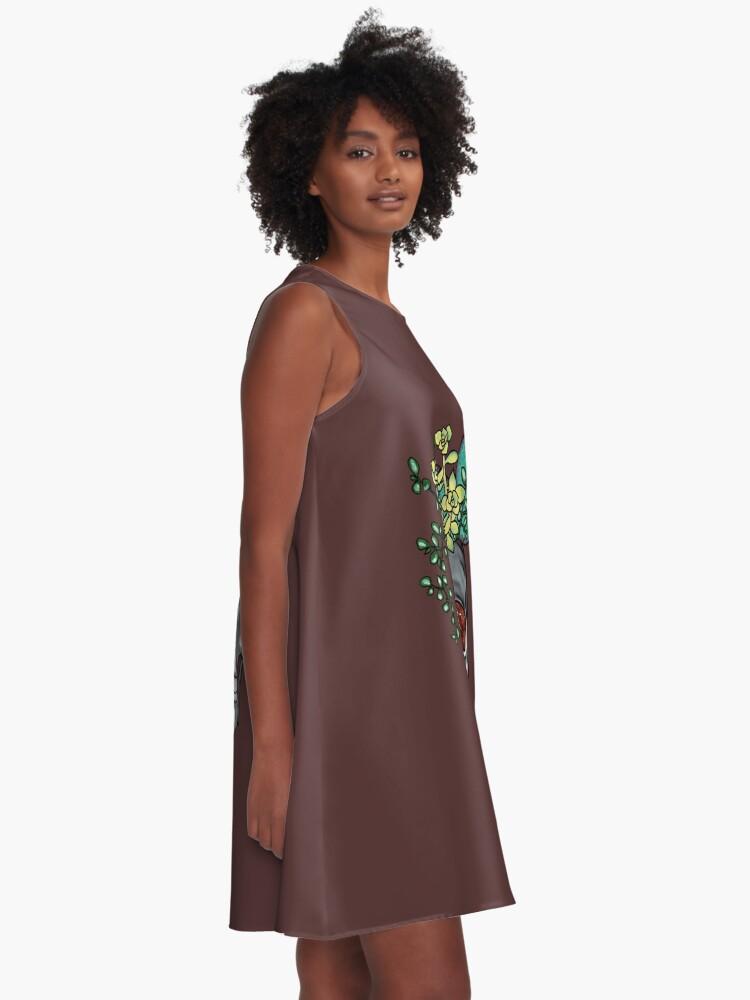 Alternative Ansicht von Gib mir Sukkulenten oder gib mir den Tod A-Linien Kleid