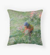 Rainbow Lorikeet & Red Grivellia Throw Pillow