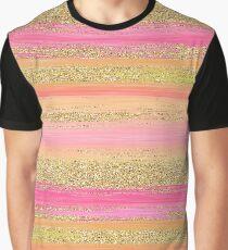 Pink Orange Yellow Faux Gold Glitter Stripes Pattern Graphic T-Shirt