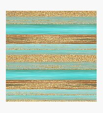 Turquoise Brown Faux Gold Glitter Stripes Pattern Photographic Print