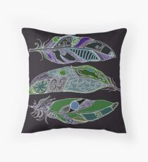 Space Feathers Blue and Green Tones Throw Pillow