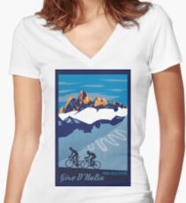 Giro D' Italia Retro  Passo Dello Stelvio Cycling Poster Women's Fitted V-Neck T-Shirt