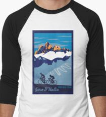 Camiseta ¾ bicolor para hombre Giro D 'Italia Retro Passo Dello Stelvio Cartel de ciclismo