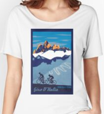 Giro D' Italia Retro  Passo Dello Stelvio Cycling Poster Women's Relaxed Fit T-Shirt