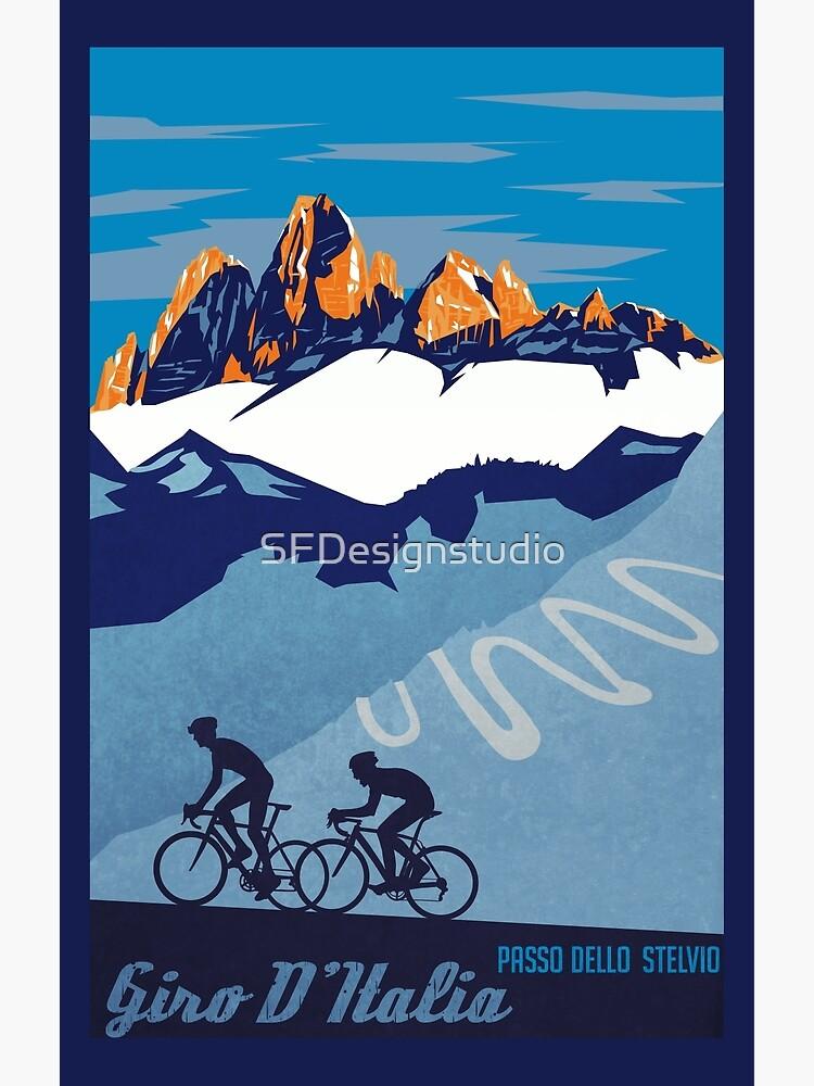 Giro D 'Italien Retro Passo Dello Stelvio Radfahren Poster von SFDesignstudio