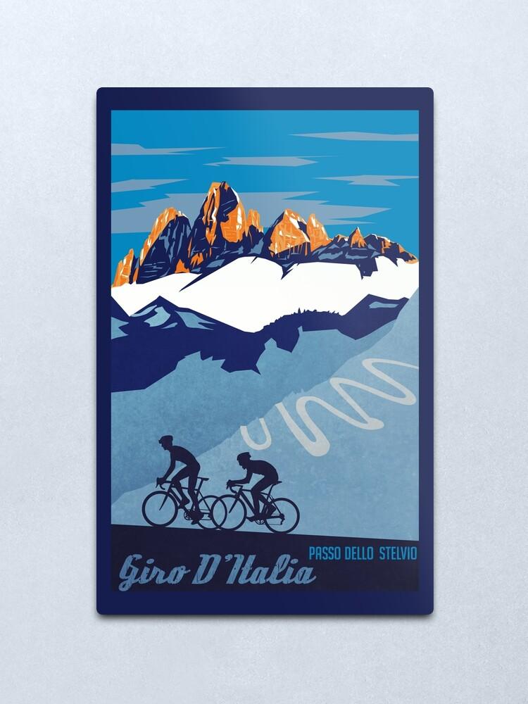 Alternate view of Giro D' Italia Retro  Passo Dello Stelvio Cycling Poster Metal Print