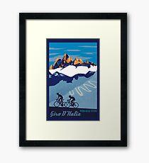 Giro D' Italia Retro  Passo Dello Stelvio Cycling Poster Framed Print