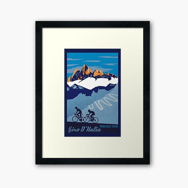 Giro D' Italia Retro  Passo Dello Stelvio Cycling Poster Framed Art Print