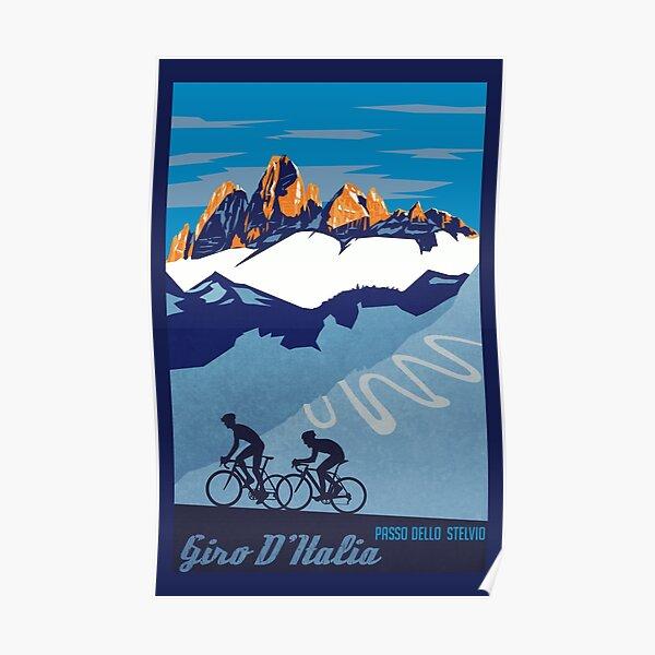 Giro D' Italia Retro  Passo Dello Stelvio Cycling Poster Poster