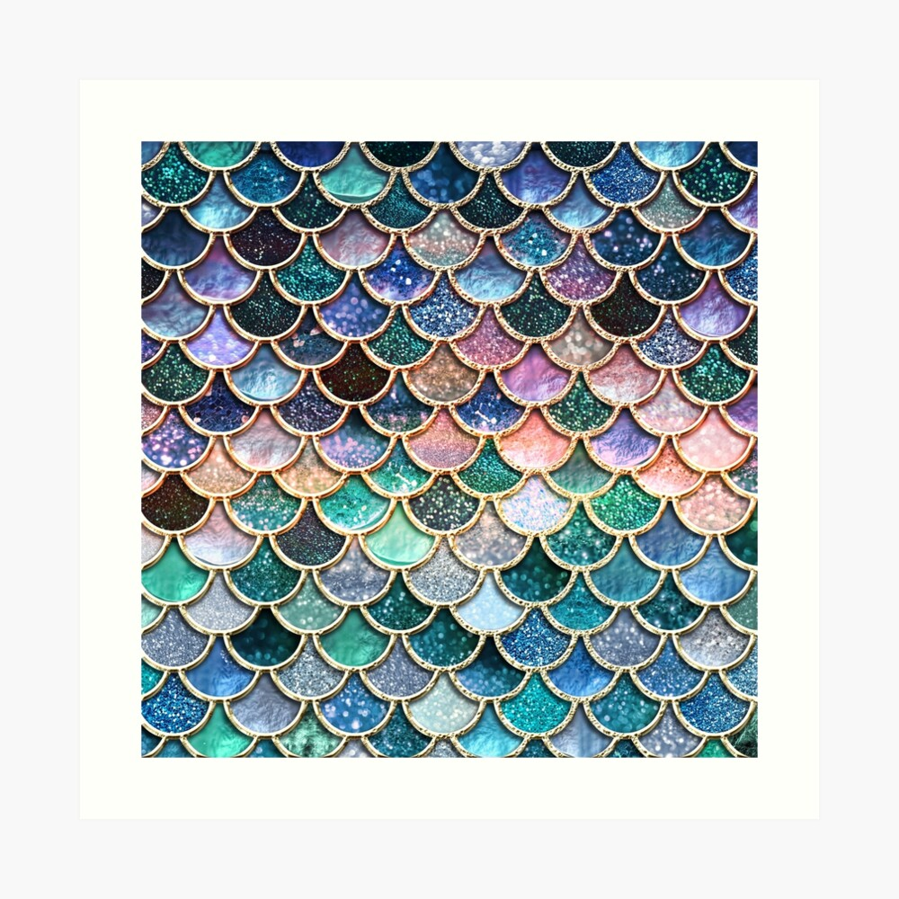 Teal, Silver and Pink Sparkle Faux Glitter Mermaid Scales Art Print