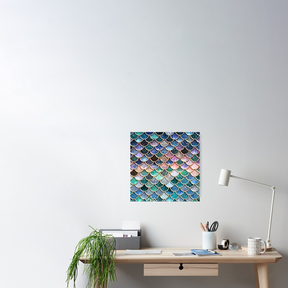 Teal, Silver and Pink Sparkle Faux Glitter Mermaid Scales Poster