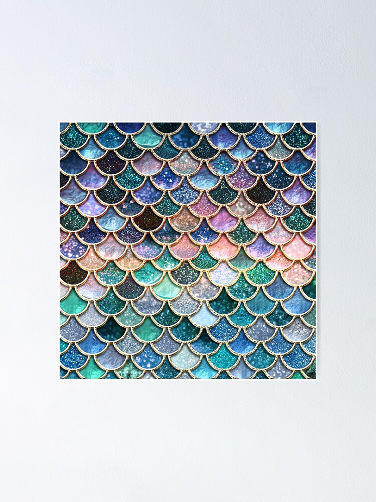 Alternate view of Teal, Silver and Pink Sparkle Faux Glitter Mermaid Scales Poster