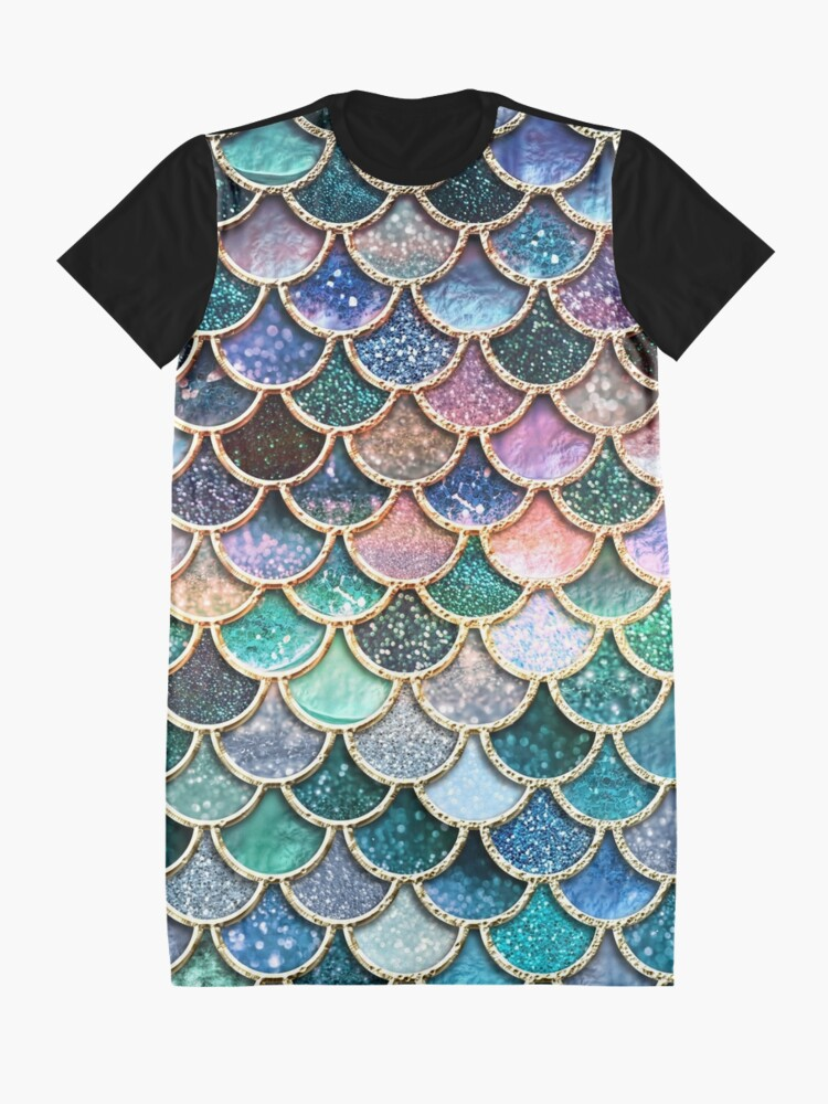 Alternate view of Teal, Silver and Pink Sparkle Faux Glitter Mermaid Scales Graphic T-Shirt Dress