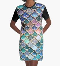Teal, Silver and Pink Sparkle Faux Glitter Mermaid Scales Graphic T-Shirt Dress