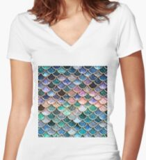 Teal, Silver and Pink Sparkle Faux Glitter Mermaid Scales Women's Fitted V-Neck T-Shirt