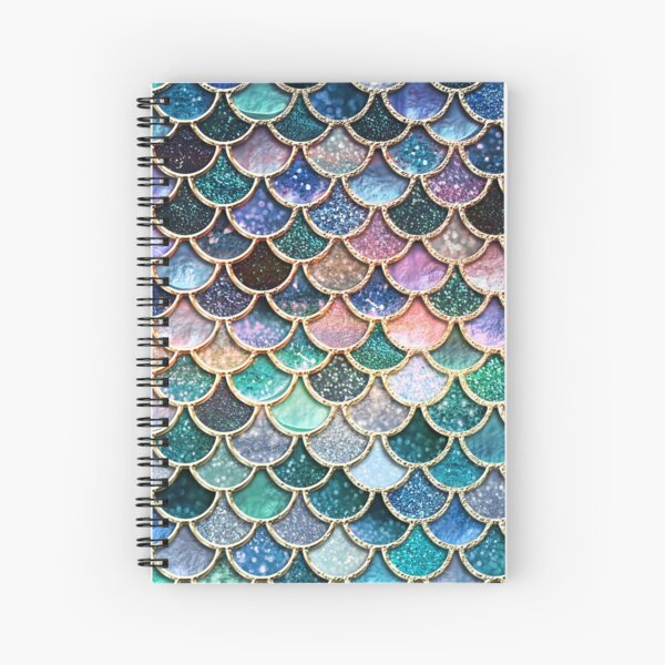 Teal, Silver and Pink Sparkle Faux Glitter Mermaid Scales Spiral Notebook